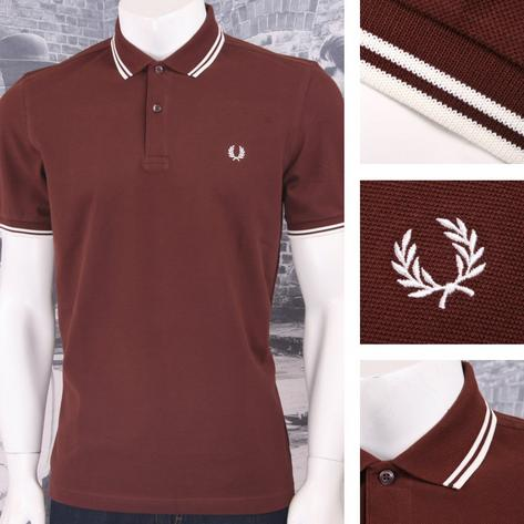 Fred Perry Mod 60's Laurel Wreath Pique Knit Tipped Polo Shirt Burgundy Thumbnail 1