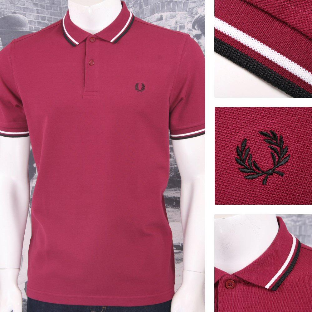 Fred Perry Mod 60's Laurel Wreath Pique Knit Tipped Polo Shirt Wine