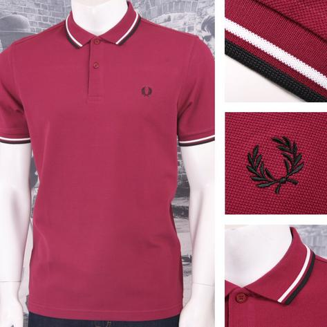 Fred Perry Mod 60's Laurel Wreath Pique Knit Tipped Polo Shirt Wine Thumbnail 1