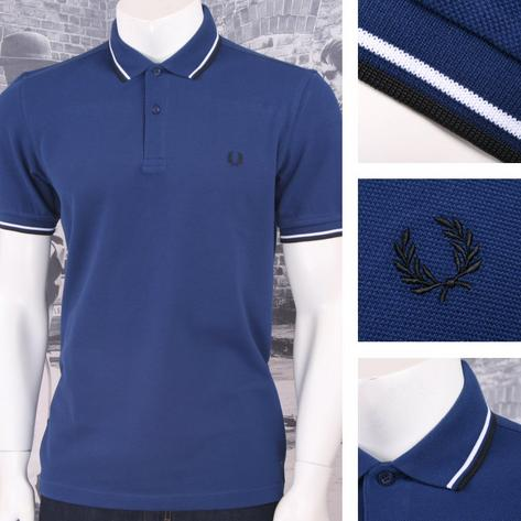 Fred Perry Mod 60's Laurel Wreath Pique Knit Tipped Polo Shirt Deep Blue Thumbnail 1