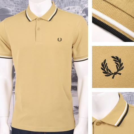 Fred Perry Mod 60's Laurel Wreath Pique Knit Tipped Polo Shirt Mustard Thumbnail 1