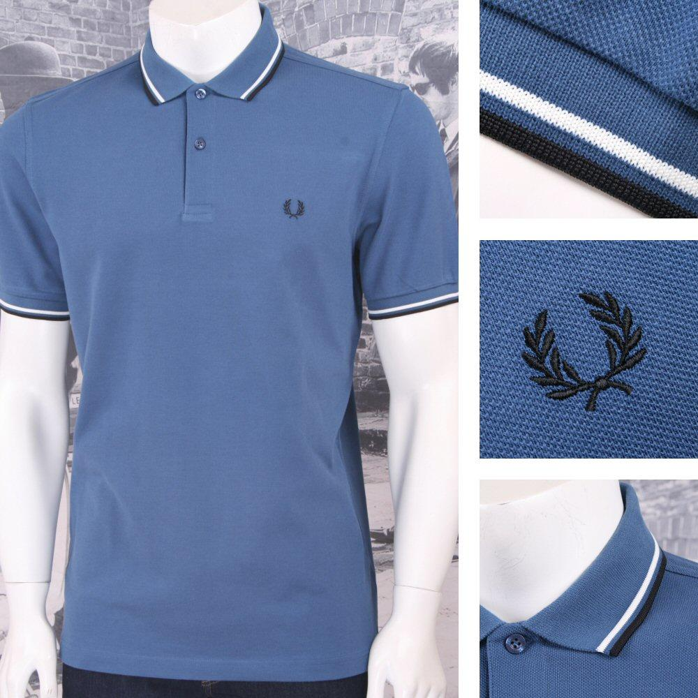 Fred Perry Mod 60's Laurel Wreath Pique Knit Tipped Polo Shirt Faded Blue