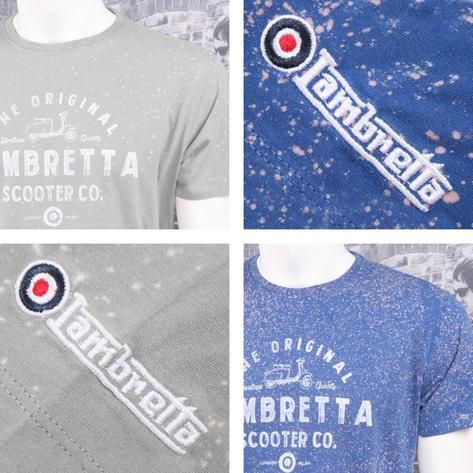 Lambretta Mod Retro 60's Crew Neck Speckled Bleach Logo Print T-Shirt