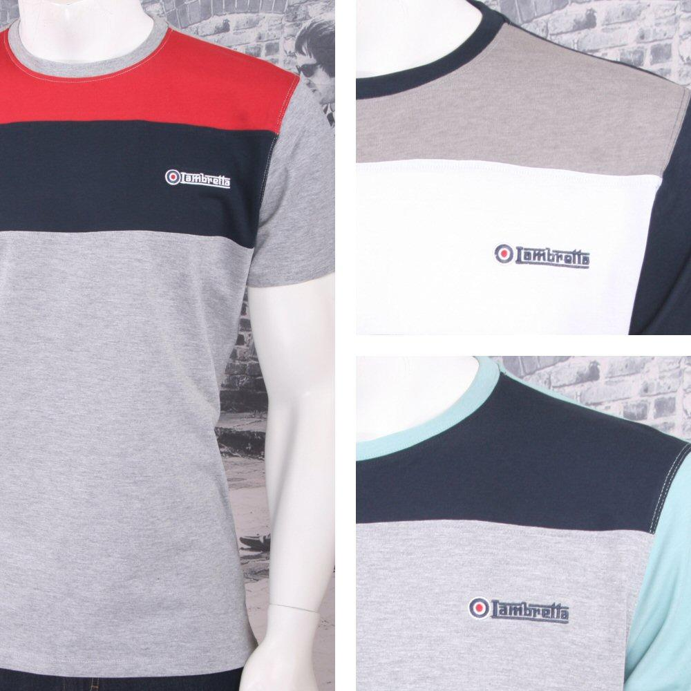 Lambretta Mod Retro Crew Neck Block Stripe Panel Target Logo T-Shirt