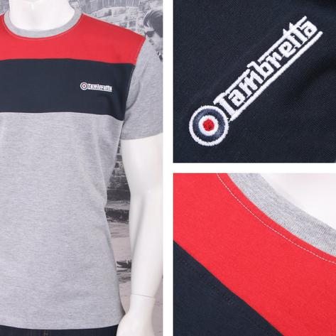 Lambretta Mod Retro Crew Neck Block Stripe Panel Target Logo T-Shirt Thumbnail 2