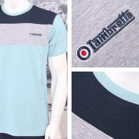 Lambretta Mod Retro Crew Neck Block Stripe Panel Target Logo T-Shirt Thumbnail 4