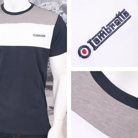 Lambretta Mod Retro Crew Neck Block Stripe Panel Target Logo T-Shirt Thumbnail 3