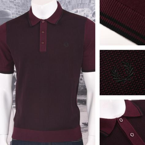 Fred Perry Mod 60's Laurel Wreath Contrast Texture Knit Polo Shirt Thumbnail 3