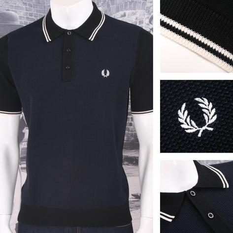 Fred Perry Mod 60's Laurel Wreath Contrast Texture Knit Polo Shirt Thumbnail 2