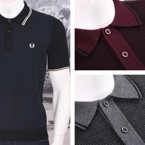 Fred Perry Mod 60's Laurel Wreath Contrast Texture Knit Polo Shirt