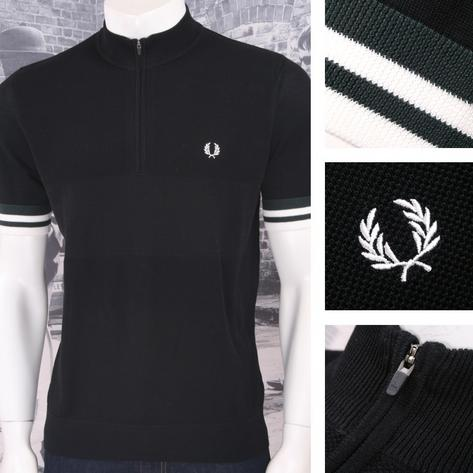 Fred Perry Mod 60's Laurel Wreath Zip Neck Waffle Knit Cycling Top Black