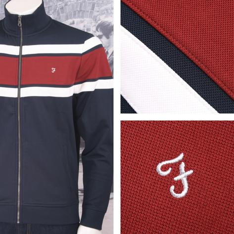Farah Jeans Mens Casual Stripe Zip Through Track Top Thumbnail 3