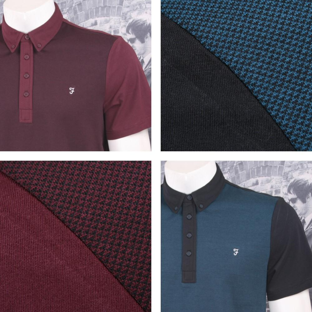 Farah Jeans Mens Casual Jacquard Contrast Front Polo Shirt