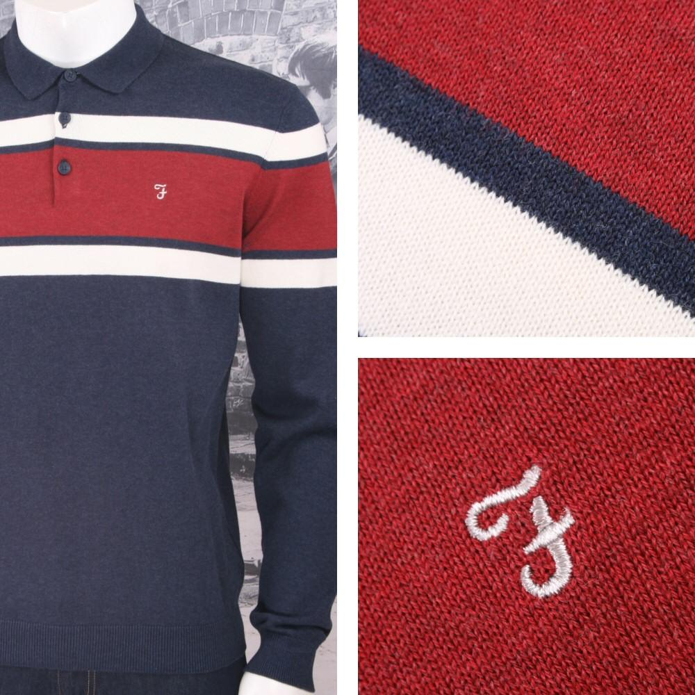 Farah Jeans Mens Casual Stripe Knit Long Sleeve Polo Shirt Navy