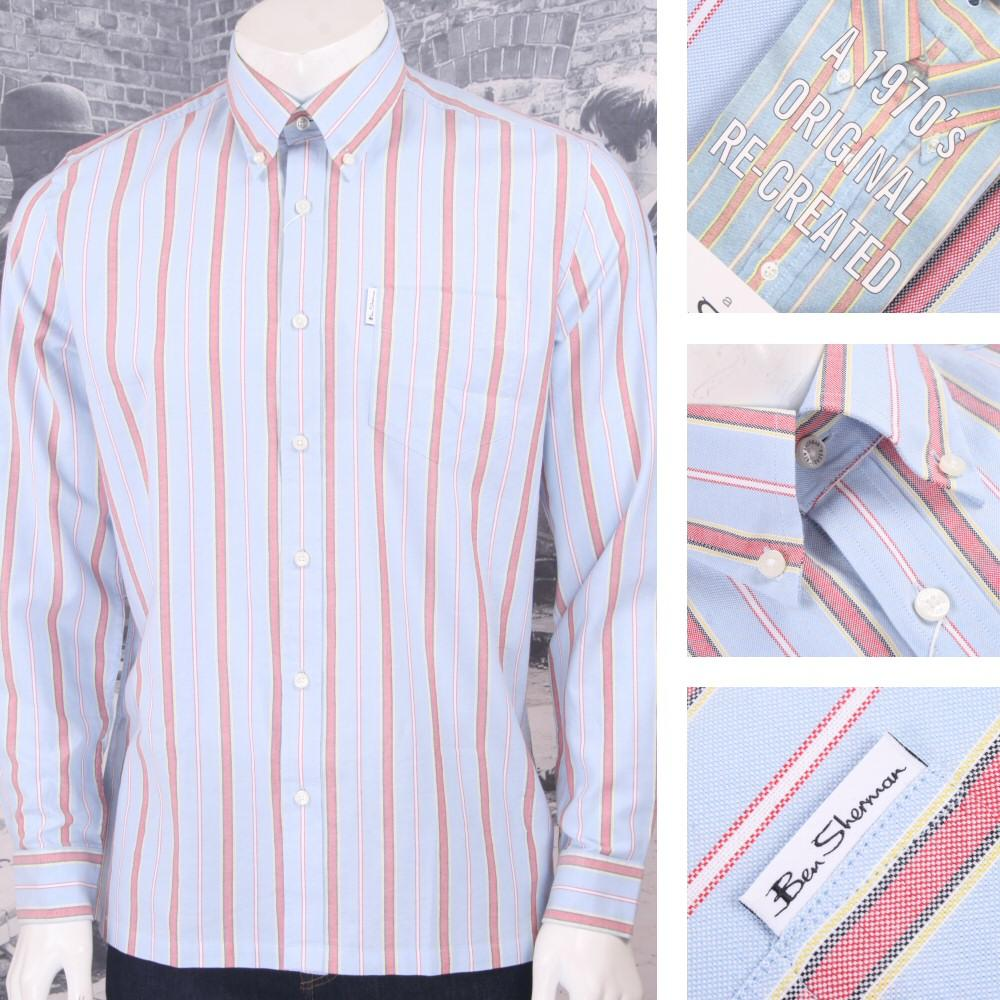 Ben Sherman Mod Retro 60's Reissue Archive Candy Stripe Shirt Sky Blue