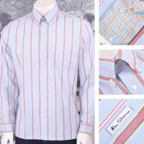 Ben Sherman Mod Retro 60's Reissue Archive Candy Stripe Shirt Sky Blue Thumbnail 1