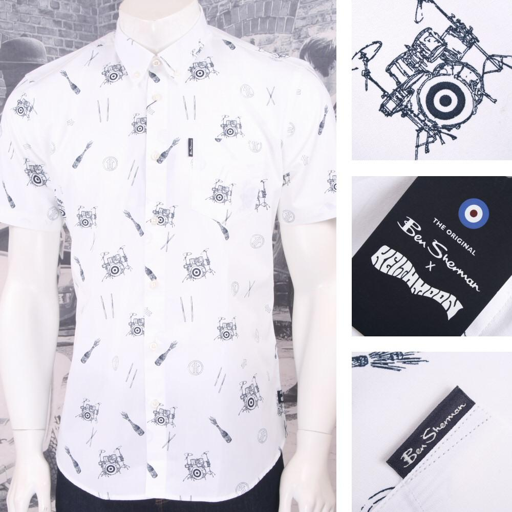 Ben Sherman Limited Edition Who Keith Moon Drummer Print Shirt White