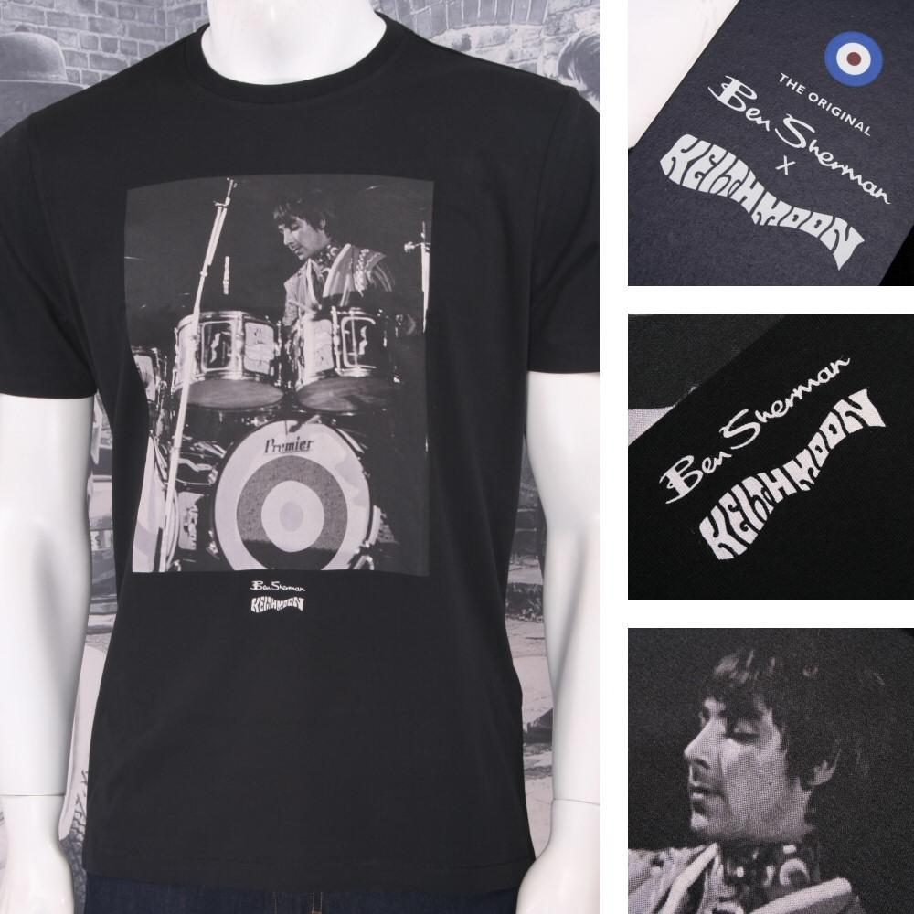 Ben Sherman Limited Edition Who Keith Moon Drummer Print T-Shirt Black