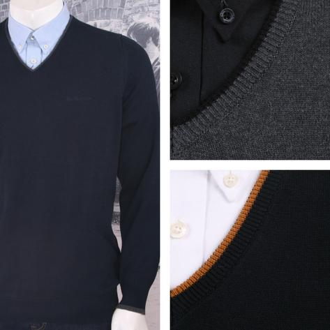 Ben Sherman Mod Retro 60's Tipped V-Neck Knit Jumper Sweater