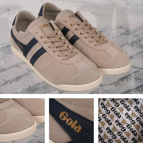 Gola Bullet Classic Slim Profile Suede Mens Trainer Stone / Navy Thumbnail 1