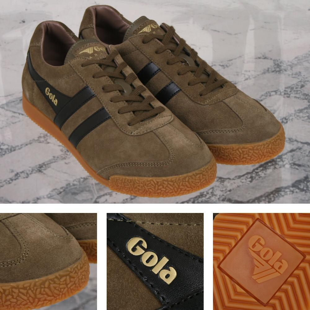 Gola Harrier Classic Twin Stripe Suede Mens Trainer Khaki / Black