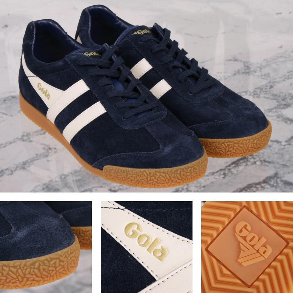 Gola Harrier Classic Twin Stripe Suede Mens Trainer Navy / Off White