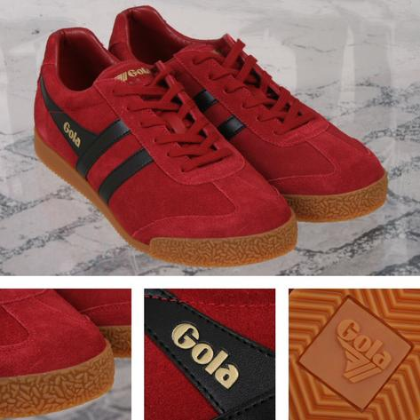 Gola Harrier Classic Twin Stripe Suede Mens Trainer Red / Black