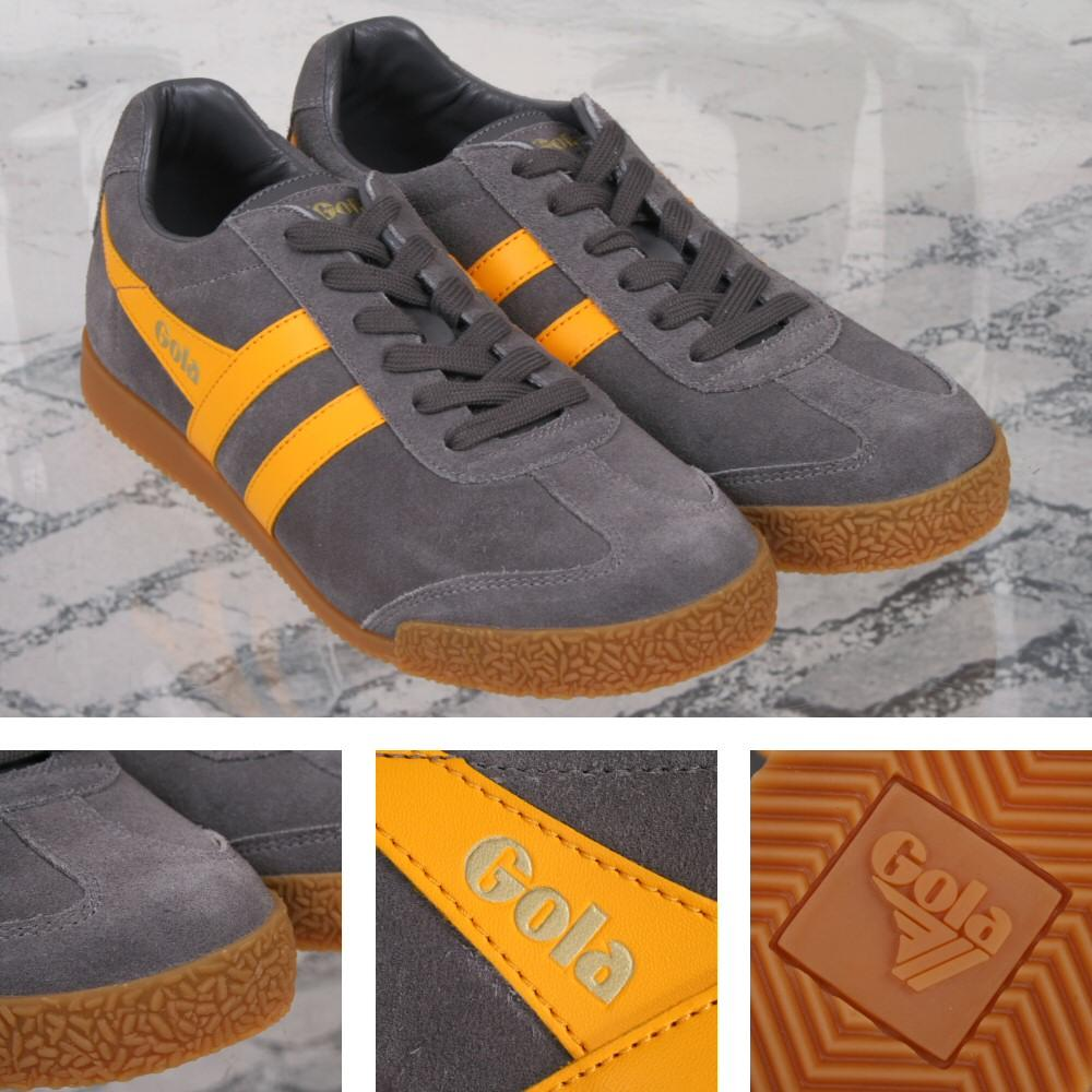 Gola Harrier Classic Twin Stripe Suede Mens Trainer Grey / Yellow