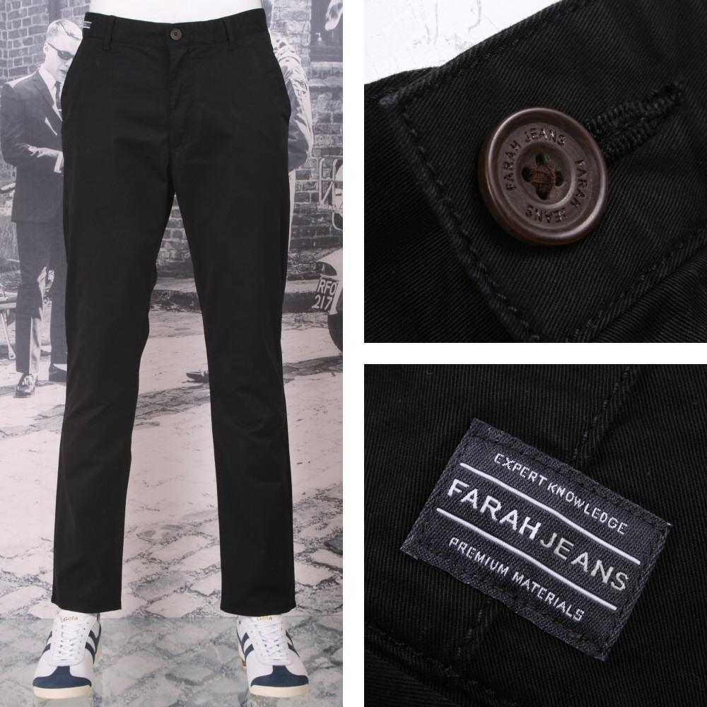 Farah Jeans Mens Casual Cotton Twill Chino Trousers Black