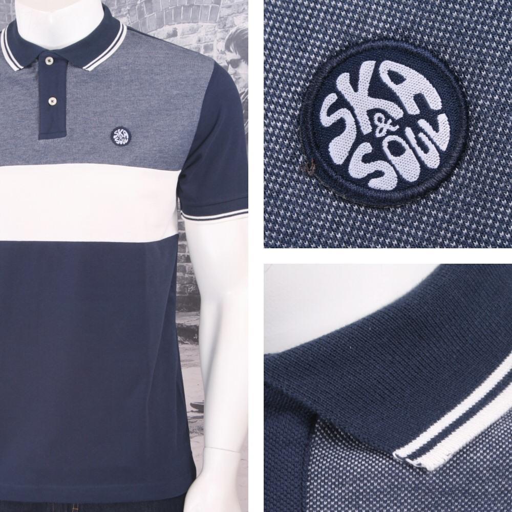 Ska Soul Mens Tonic Horizontal Stripe Tipped Polo Shirt Navy