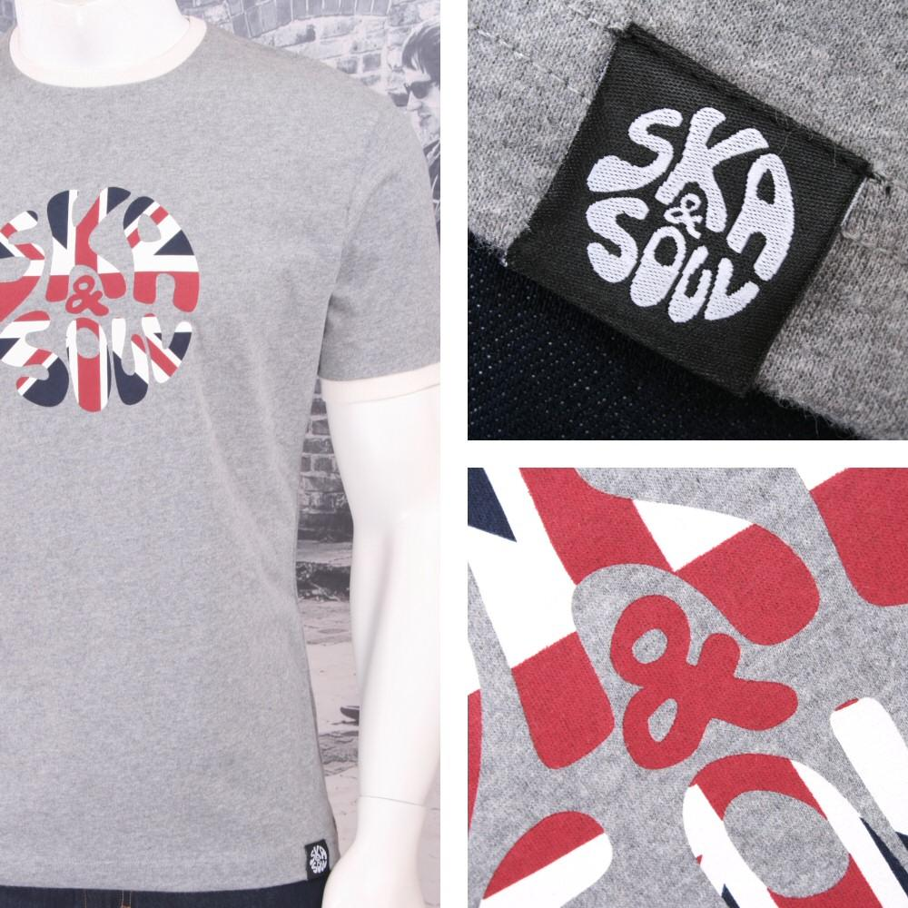 Ska & Soul Mens Union Flag Logo Print Crew Neck T-Shirt Grey