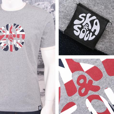 Ska & Soul Mens Union Flag Logo Print Crew Neck T-Shirt Grey Thumbnail 1