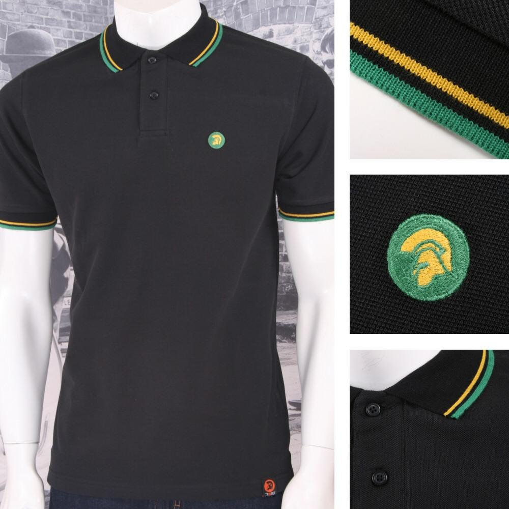 Trojan Records Mens Jamaican Tipped Polo Shirt Black