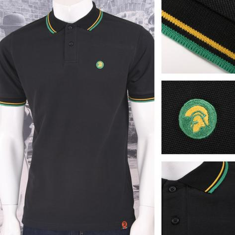 Trojan Records Mens Jamaican Tipped Polo Shirt Black Thumbnail 1