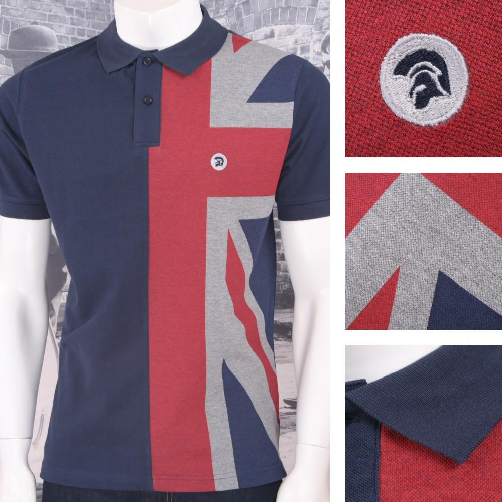 Trojan Records Mens Half British Flag Polo Shirt Navy