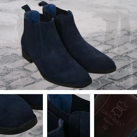 Justin Reece Retro Suede Chelsea Boot Navy Blue Thumbnail 1