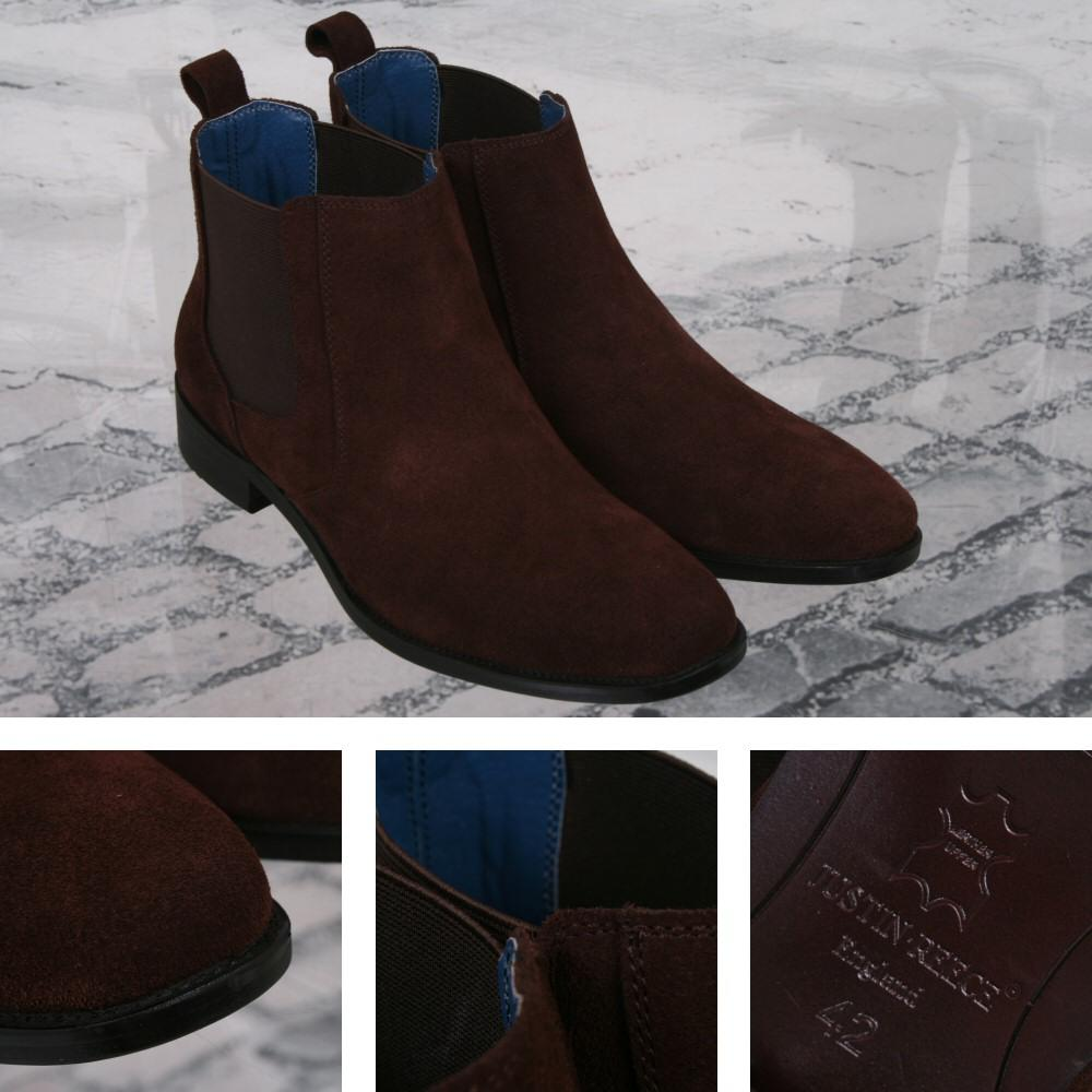 Justin Reece Retro Suede Chelsea Boot Chocolate Brown