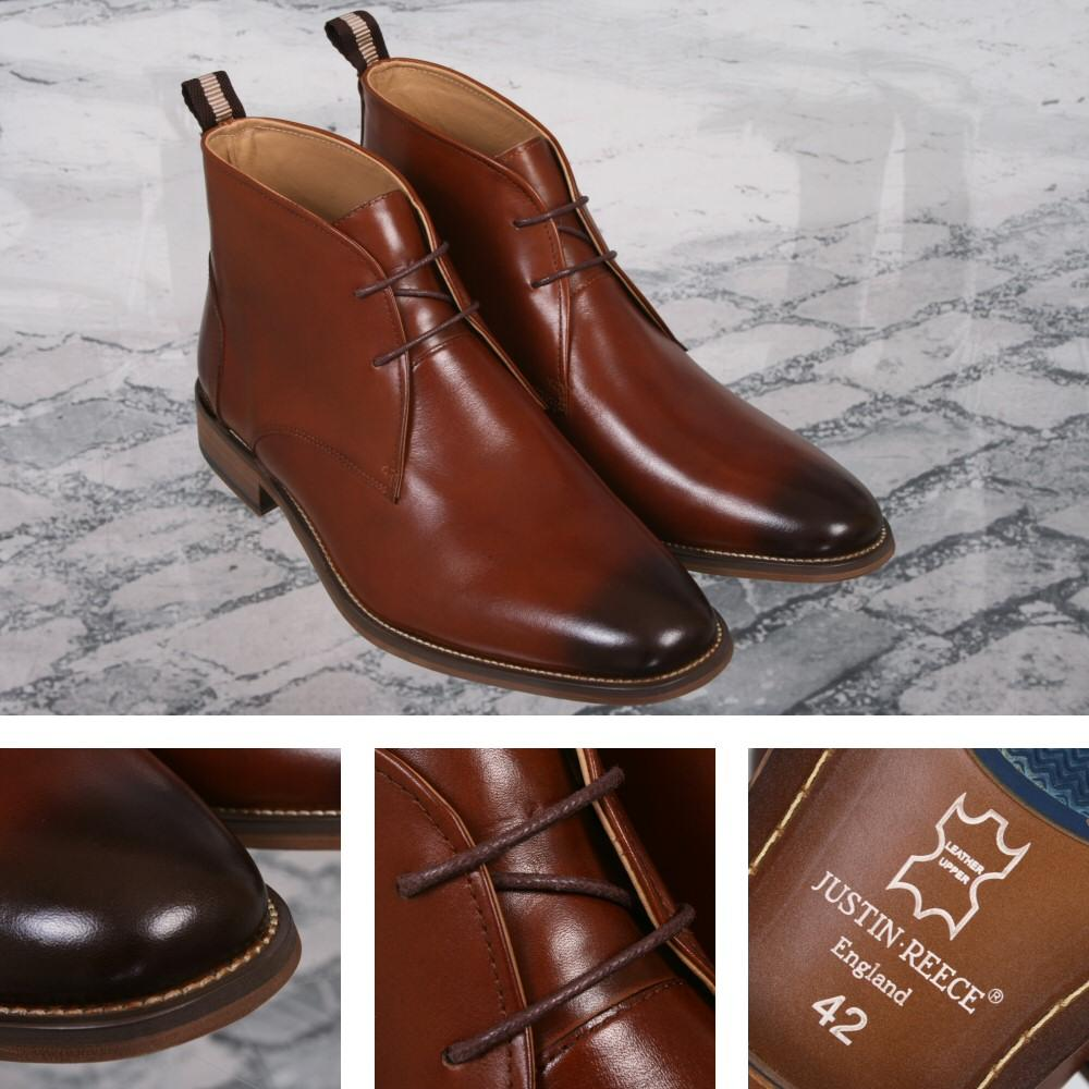 Justin Reece Mod Dandy Lace Up Ankle Boot Brown Leather