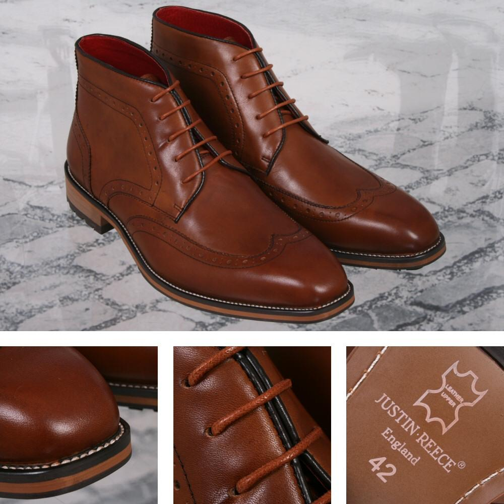 Justin Reece Mod Brogue Lace Up Ankle Boot Deep Tan Leather