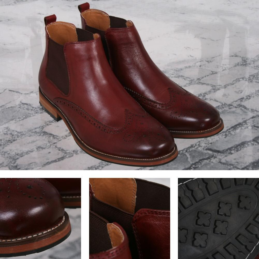Justin Reece Brogue Dealer Chelsea Boot Wine Leather