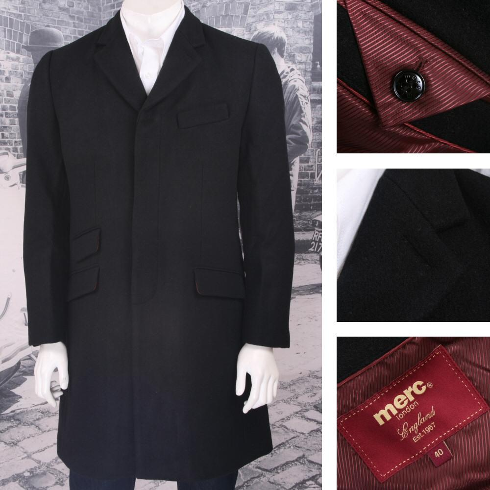 Merc Mod Skinhead Wool Overcoat Black