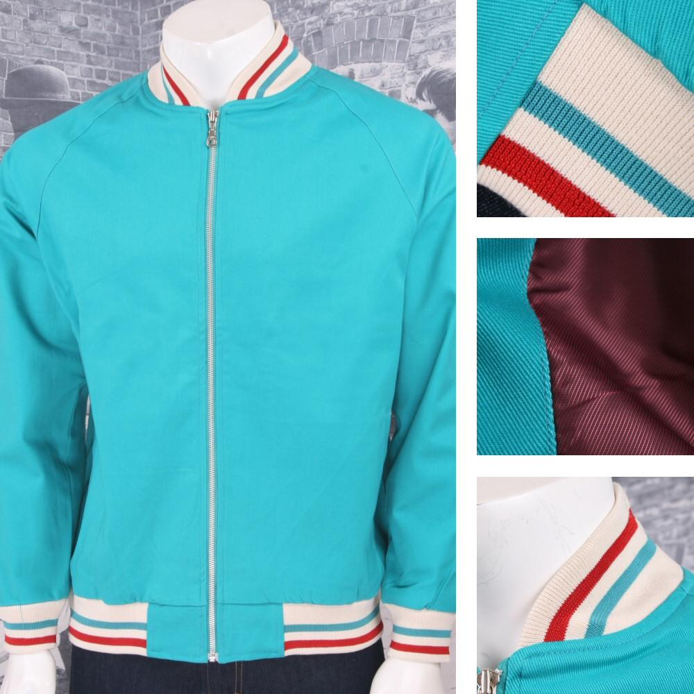 Hoxton London Mens Retro Raglan Sleeve Multi Tipped Monkey Jacket Aqua