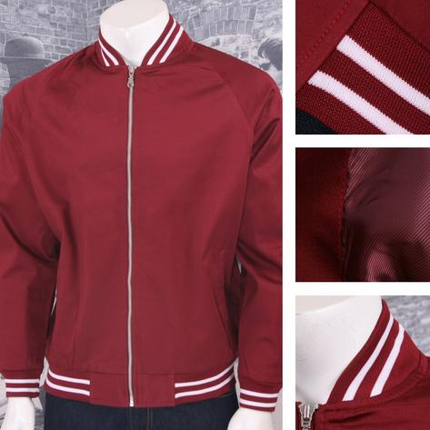 Hoxton London Mens Retro Raglan Sleeve Multi Tipped Monkey Jacket Maroon Thumbnail 1