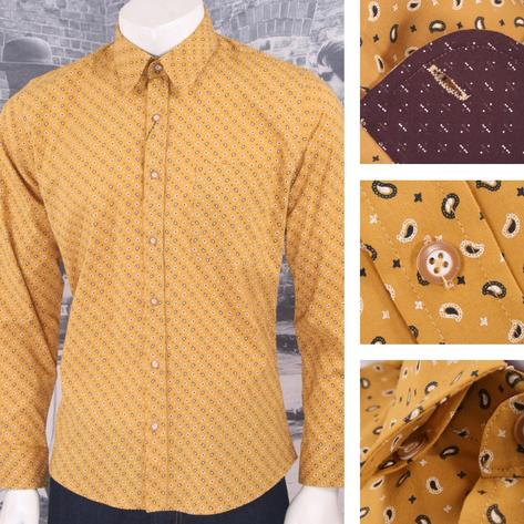 Tootal Vintage Authentic Mens Patterned Paisley Shirt Mustard Thumbnail 1