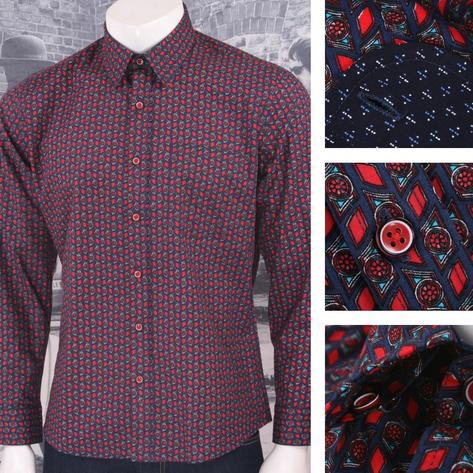 Tootal Vintage Authentic Mens Patterned Geometric Shirt Navy