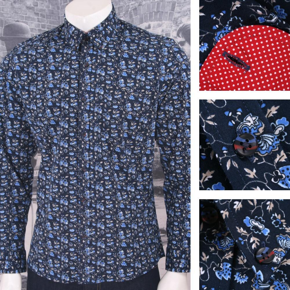 Tootal Vintage Authentic Mens Patterned Floral Shirt Deep Blue