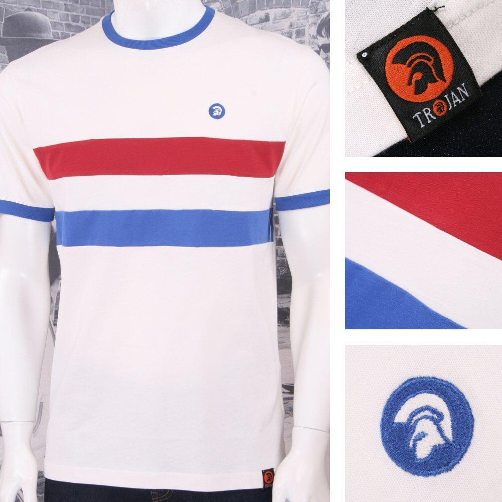 Trojan Records Mens Stripe Ringer Sports Top T-Shirt White