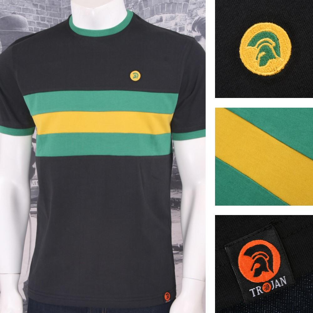 Trojan Records Mens Stripe Ringer Sports Top T-Shirt Jamaica