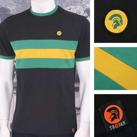 Trojan Records Mens Stripe Ringer Sports Top T-Shirt Jamaica Thumbnail 1