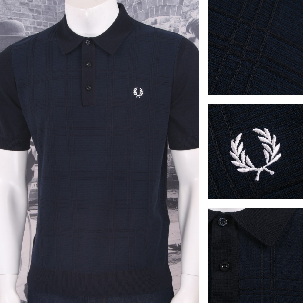 afb4950e2e459 Fred Perry Mens Raised Tonal Check Knit Polo Shirt Navy